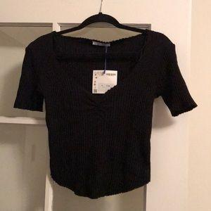 Zara black 3/4 ribbed shirt
